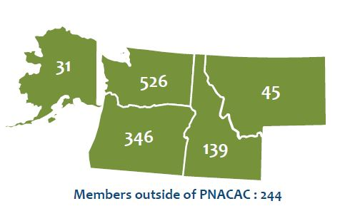 PNACAC Members by State in Map